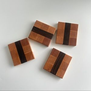 Handmade Wanut & Cherry Wood Coasters Set of 4
